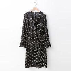 New Dot Ruffle Wrap Dress