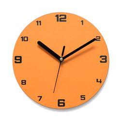 이니셜각인 무소음벽시계 넘버베이직 오렌지