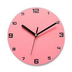 이니셜각인 무소음벽시계 넘버베이직 핑크