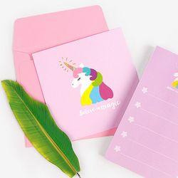 금박 라벤더 트윙클 유니콘 카드