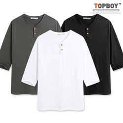 심플 슬라브 헨리넥 7부 티셔츠 (RT411)