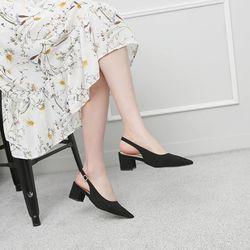 [쿠루] 여성 5cm 스웨이드 스텔레토 슬링백힐 G7048