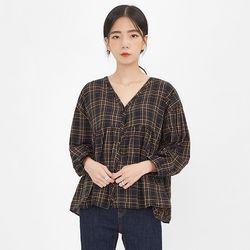 miya v-neck check blouse