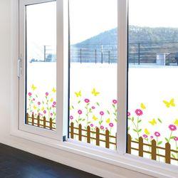 ic400-꽃과나비가있는울타리불투명유리시트