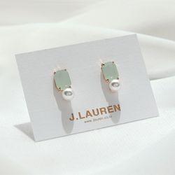 제이로렌 M02637 폴링인럽 사각 크리스탈 진주 귀걸이
