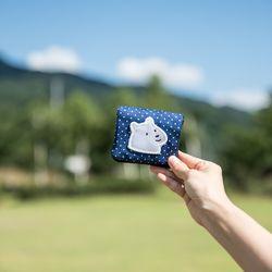 파랑 땡땡이 개곰이 반지갑