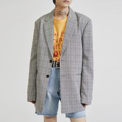 two-button check single jacket - UNISEX