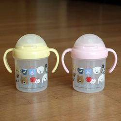 크루르크루레 양손 손잡이 빨대컵 (2color)