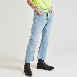neon string crop denim pants - UNISEX