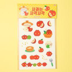 사과는 사각사각 칼선 스티커