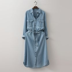 Stripe Denim Shirts Dress