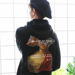 오버핏 르네상스 콜라주 후드티셔츠 블랙