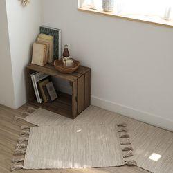 멜란지 태슬 코튼 러그&매트-베이지(50x70cm)