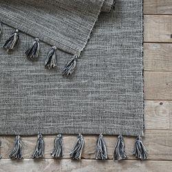 멜란지 태슬 코튼 러그&매트-차콜(50x70cm)