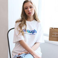 enough레터링 자수 오버핏 화이트 티셔츠