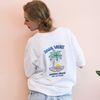 야자수 그래픽 자수 오버핏 화이트 티셔츠