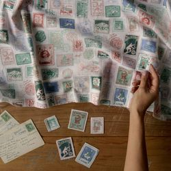 [Fabric] The Travellers Stamp Collection Pattern Linen 우표
