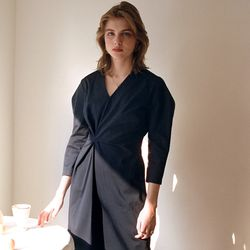 NEW DRAPED DRESS NAVY