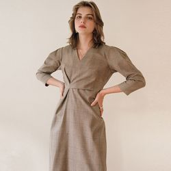 CHECK DRAPED DRESS GLEN CHECK
