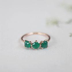 스퀘어 그린 Ring (silver925)