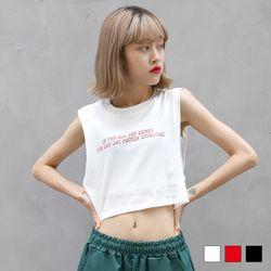 2249 레터링 이중 나시 티셔츠 (3colors)