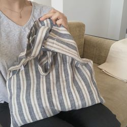 basic stripe linen bag ( hand made )