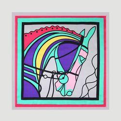 Silk Horse Square Petit Scarf