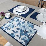 Green PVC 디자인 코팅 테이블매트 식탁매트 블루플라워