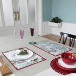 Green PVC 디자인 코팅 테이블매트 식탁매트 플로럴레드