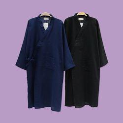 민무늬 블랙 네이비 유카타 원피스 잠옷