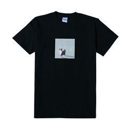 [무료배송] [특] 꽃잎고양이 반팔 - 블랙