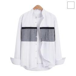 헨리넥 라인 체크 셔츠 SHT234