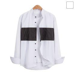 헨리넥 라인 배색 셔츠 SHT233