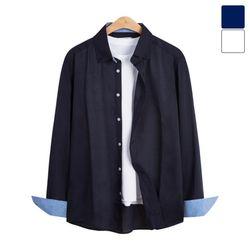 린넨 소매 배색 무지 셔츠 SHT227