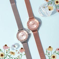 러블리 AUTUMN 들꽃 로즈골드 메쉬 시계 CL2G18902MPP