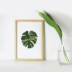 monstera 인테리어 식물 액자 포스터 우드 프레임