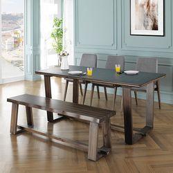 뉴-미뉴엣 6인 화산석 식탁세트(벤치형)+의자3개