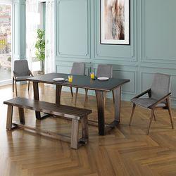 뉴-미뉴엣 6인 화산석 식탁세트(벤치형)+의자4개