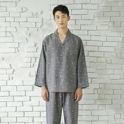 쁘띠쁘랑러블리체크 세미트윌 남성잠옷