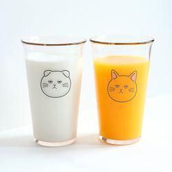 고양이 강화유리컵 380ml