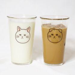 고양이 강화유리컵 500ml