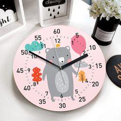 [퍼니즈] 풍선곰(핑크) 교육용 벽시계 (무소음) 어린이집 아이방