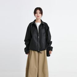 loose boxy leather jacket (3colors)