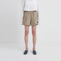 minimal half leather pants  (3colors)