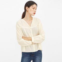 waffle texture v-neck blouse