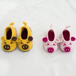 황금 돼지 아기 덧신 - 코바늘 키트