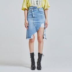 damage cutting unbalance denim skirt