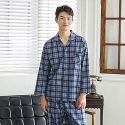쁘띠쁘랑멜란체크순면 남성잠옷