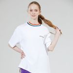 RAINBOW NECK POINT TEE WHITE