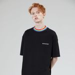 RAINBOW NECK POINT TEE BLACK